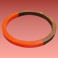 Laminated Bangle Bracelet with Lucite and Natural Wood 1970s