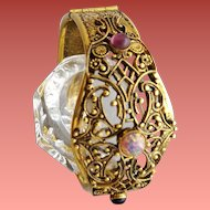 1960s Filigree Clamper Bracelet Victorian Style Art Glass Cabochons