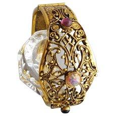 1960s Filigree Clamper Bracelet Victorian Style Art Glass Cabochons