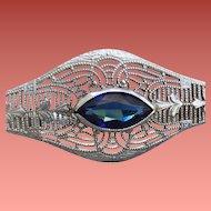 1920s Bracelet Sterling Silver Filigree Sapphire Rhinestone Art Deco Era