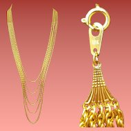 Extra Long 18k Yellow Gold Necklace Multi Strand 62.3 Grams