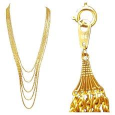 Long 18k Gold Necklace Multi Strand 62.3 Grams