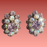 Superb Weiss Rhinestone Earrings Lavender Aurora Borealis