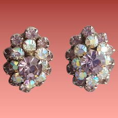 Superb Weiss Rhinestone Earrings Lavender Aurora Borealis