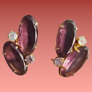 Gorgeous Purple Rhinestone Earrings Large Oval Stones