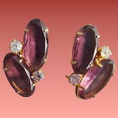 Gorgeous Purple Rhinestone Earrings Large Oval Stones