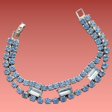 1950s Blue Rhinestone Bracelet Small Size 6-3/4 inches