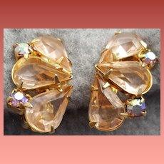 Pink Rhinestone Earrings Open Back Clip Style Minty 1960s