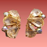 Pink Rhinestone Earrings Open Back Clip Style Minty 1960s