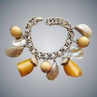 1950s Bakelite Charm Bracelet Dangle Crazy Shells