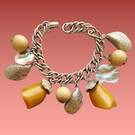 1950s Bakelite Charm Bracelet Dangle Crazy Shells and More
