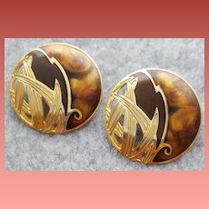 Vintage Berebi Pierced Earrings Rich Warm Colors and Gold Tone