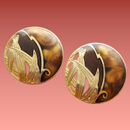 Vintage Berebi Pierced Earrings Rich Warm Colors and Gold Tone