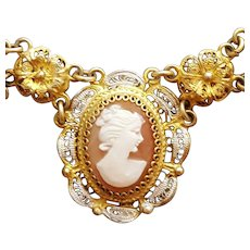 Carved Italian Shell Cameo Necklace Cannetille Vermeil Italy