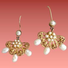 Freshwater Pearl and Gold Finish Earrings Pierced Special Event