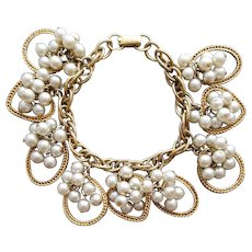 1950s - 1960s Charm Bracelet Cha Cha Hearts Mid Century