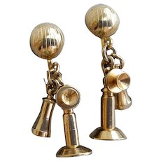 Miniature Candlestick Telephones Earrings Doll Size 1950s Screw Back