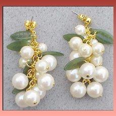 Pierced Earrings Cascading Faux Pearls Cha Cha