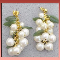 Pierced Earrings Cascading Faux Pearls Sophisticated Cha Cha