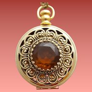 Picture Locket Necklace Faux Pocket Watch  Large Topaz Rhinestone