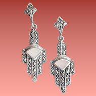 Art Deco Sterling Silver Marcasite Earrings Pierced 1920s Style 4.7 grams