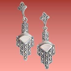 Art Deco Sterling Silver Marcasite Earrings Pierced 1920s Style 4.7 grams