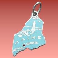 Sterling Silver Maine Bracelet Charm 1960s State Travel Tourist Souvenir