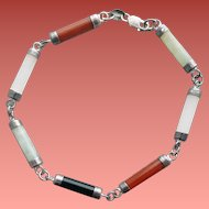 Sterling and Gem Stone Bracelet Jade Onyx Carnelian