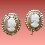 12k Yellow Gold Real Shell Carved Cameo Earrings 1930s