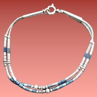 Sterling Silver and Soda Light Stone Beads Liquid Silver .925
