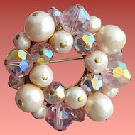 1960s Pink Crystal and Faux Pearl Brooch Sparkling Circle
