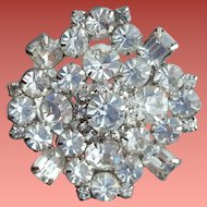 Huge Crystal Rhinestone Brooch 1950s - 1960s Spectacular Sparkle