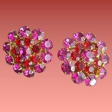 Spectacular Rhinestone Clip Earrings Fuchsia and Raspberry Large Unworn