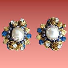 1960s Clip Earrings Faux Pearls Blue Rhinestones Elaborate Details