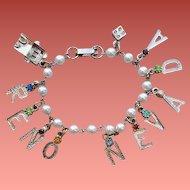 1960s Charm Bracelet Reno Nevada Souvenir Faux Pearls Rhinestones