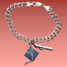 Sterling Silver Bracelet with Two Graduation Charms Diploma Hat 11.8 Grams