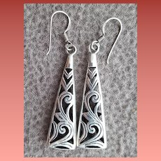 Sterling Silver Earrings Pierced Shadow Box Construction 5.7 Grams