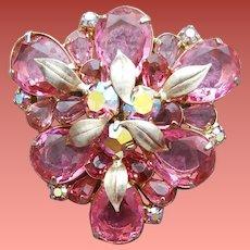 1960s Pink Rhinestone Brooch 3-D Drama Fancy Stones Minty