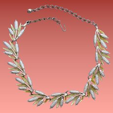 1960s Necklace Mid Century Modern Silver Tone Splash of Chartreuse