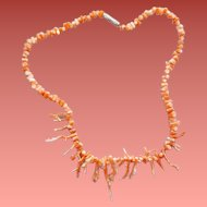 Branch Coral Necklace Angel Skin and White Beads 1970s