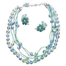 Crystal Necklace and Beaded Earrings Parure Signed Eugene 5 Strand Stunner