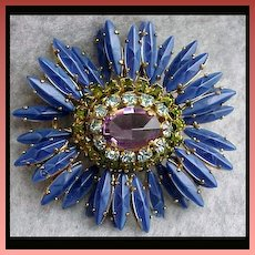 SCHREINER New York Domed Rhinestone Ruffle Brooch / Pendant