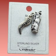 Sterling Silver Bracelet Charm Golf Bag Idaho Flag MOC