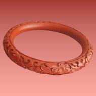 Vintage Cinnabar Bangle Bracelet Chinese Red 1980s Costume Jewelry