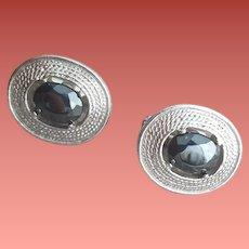Men's Vintage Cufflinks Silver Tone Hematite Mid Century Modern