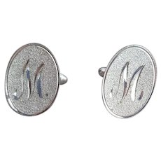 1960s Men's Cufflinks Initial M Monogram Fancy Script Vintage Fashion