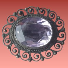 Antique Edwardian Amethyst in .800 Silver Cannetille 4.5 Grams