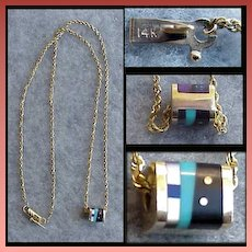 14k Gold Necklace 7.4 Grams Semi Precious Stone Enhancer Turquoise Amethyst