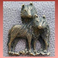 Timber Wolves Brooch Bronze Finish J.J. Jonette
