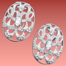 Vintage Rhinestone Clip Earrings Napier Sparkle